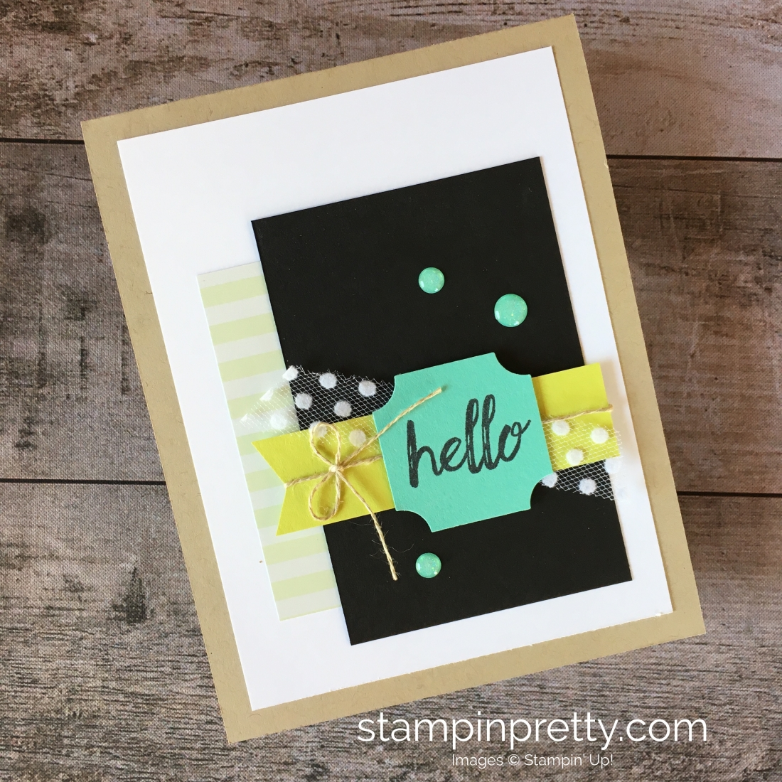 darling label punch box hello card stampin pretty