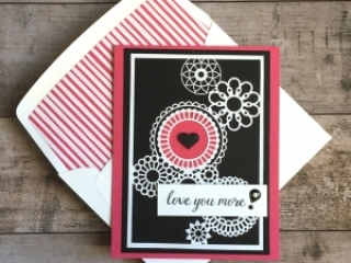 Create a simple love card using Stampin Up Delightfully Detailed Laser-Cut Specialty Designer Series Paper - Mary Fish StampinUp