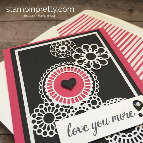 Create a simple love card using Stampin Up Delightfully Detailed Laser-Cut Specialty Designer Series Paper - Mary Fish StampinUp Idea