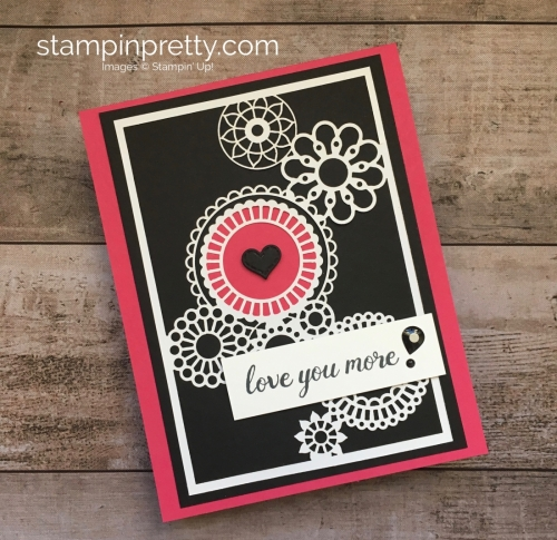 Create a simple love card using Stampin Up Delightfully Detailed Laser-Cut Specialty Designer Series Paper - Mary Fish StampinUp Ideas