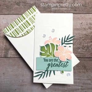 Create a simple narrow note card using Stampin Up Tropical Chic - Mary Fish StampinUp