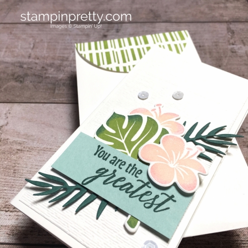 Create a simple narrow note card using Stampin Up Tropical Chic - Mary Fish StampinUp Ideas