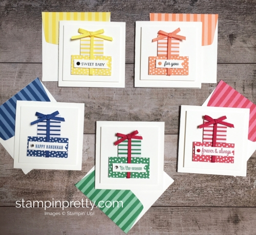 Create a simple pizza box and 3 x 3 cards using Stampin Up Itty Bitty Greetings - StampinUp Idea