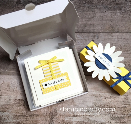 Create a simple pizza box and 3 x 3 cards using Stampin Up Itty Bitty Greetings - StampinUp Ideas