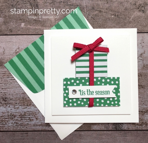 Create a simple pizza box and 3 x 3 cards using Stampin Up Itty Bitty Greetings - StampinUp christmas