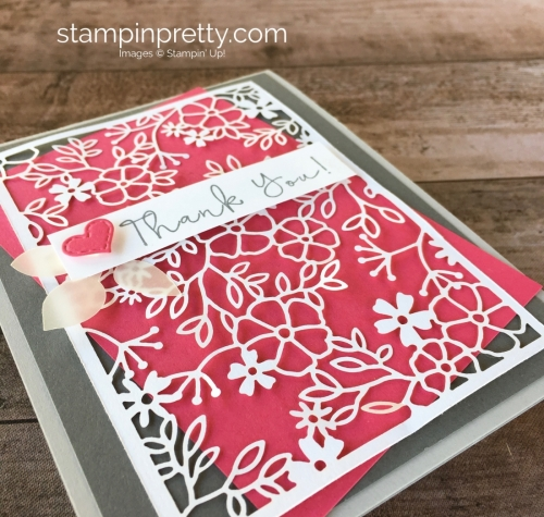 Create a simple thank you card using Stampin Up Delightfully Detailed Laser-Cut Specialty Designer Series Paper - Mary Fish StampinUp Idea