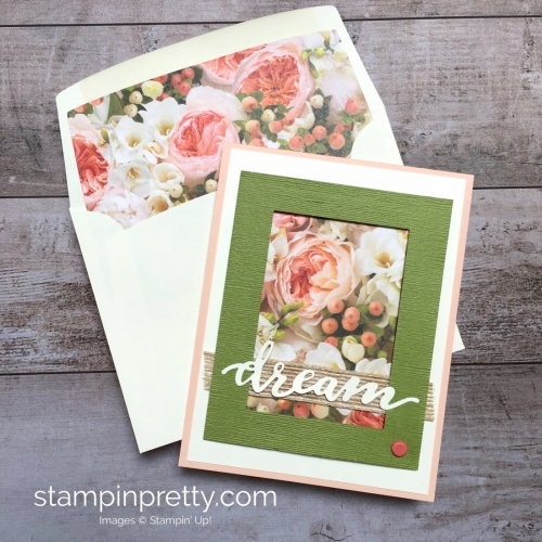 Create a simple wedding card using Stampin Up Petal Promenade Designer Series Paper - Mary Fish StampinUp