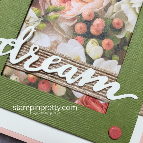 Create a simple wedding card using Stampin Up Petal Promenade Designer Series Paper - Mary Fish StampinUp Idea