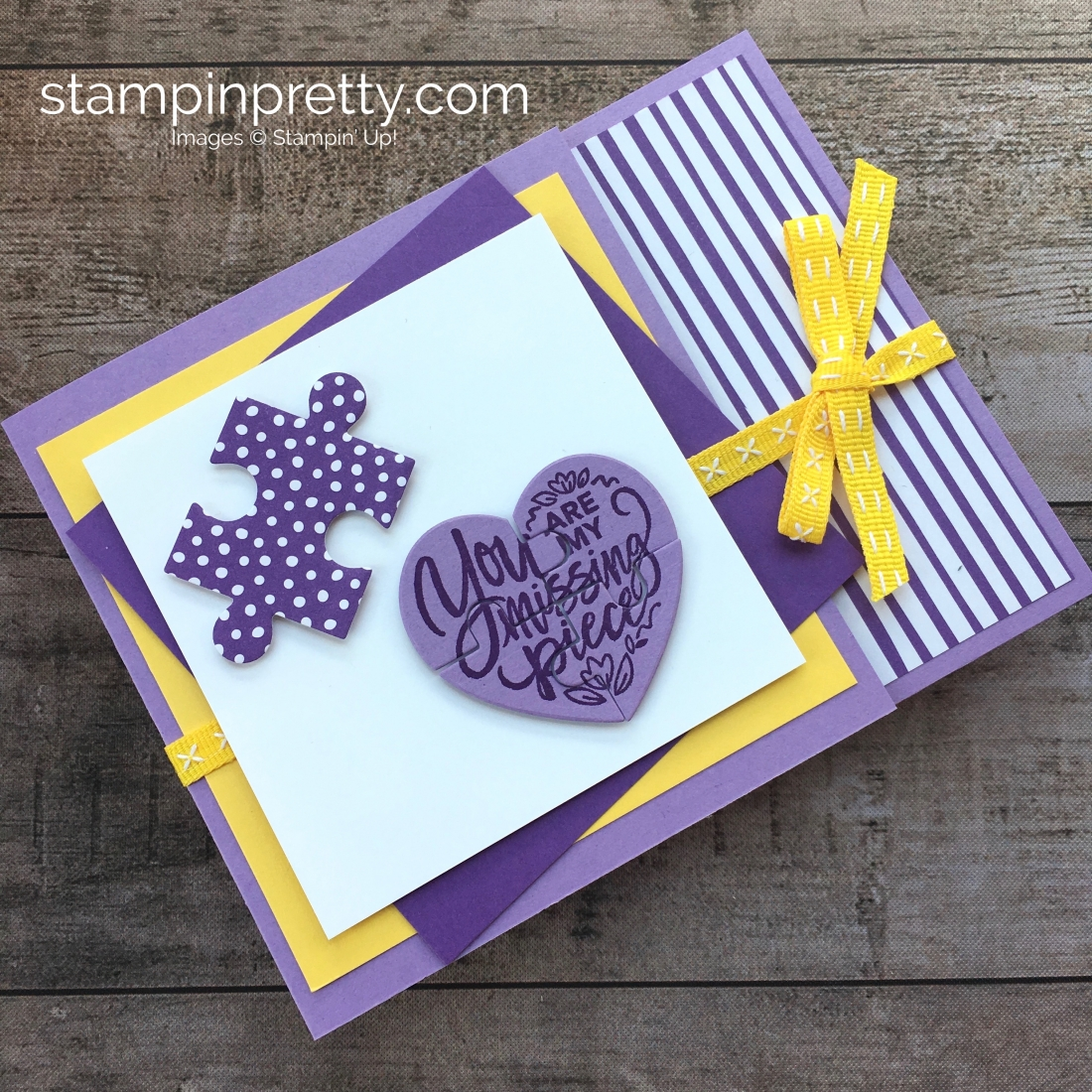 Create a Stampin Up Love You to Pieces puzzle card - Mary Fish StampinUp