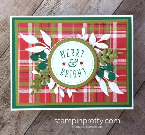 Create a holiday card using Stampin Up Foliage Frame Thinlits Dies - Mary Fish StampinUp Idea