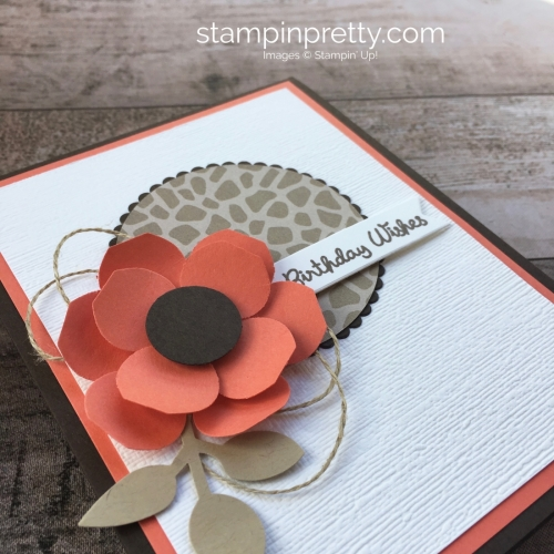 Create a simple birthday card with Vases Builder Punch flower - Mary Fish StampinUp Idea