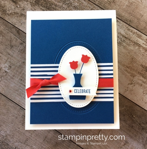 Create a simple fourth of july patriotic card using Stampin Up Varied Vases - Mary Fish Idea