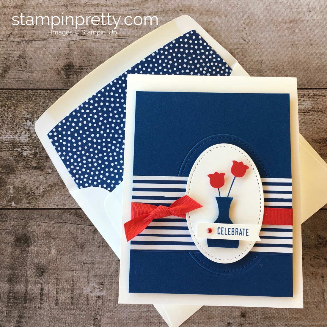 Create a simple fourth of july patriotic card using Stampin Up Varied Vases - Mary Fish