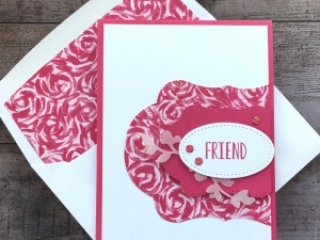 Create a simple friend card using Garden Impressions Designer Series Paper - Mary Fish StampinUp