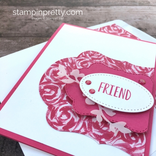 Create a simple friend card using Garden Impressions Designer Series Paper - Mary Fish StampinUp Idea
