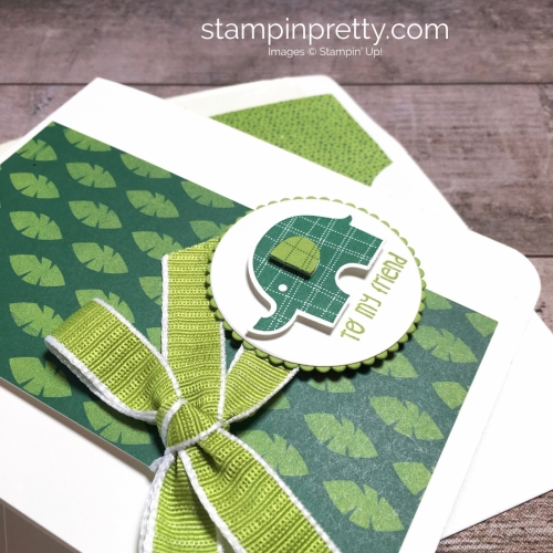 Create a simple friend card using Little Elephant and Elephant Builder Punch - Mary Fish StampinUp