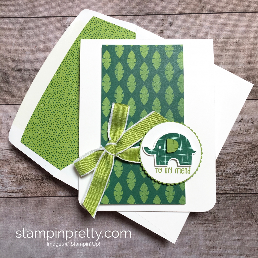 Create a simple friend card using Little Elephant and Elephant Builder Punch - Mary Fish StampinUp Idea