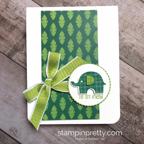 Create a simple friend card using Little Elephant and Elephant Builder Punch - Mary Fish StampinUp Ideas