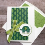 Create a simple friend card using Little Elephant and Elephant Builder Punch - Mary Fish StampinUp tropical