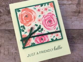 Create a simple hello card with Stampin' Up! Garden Impressions Designer Series Paper - Mary Fish StampinUp