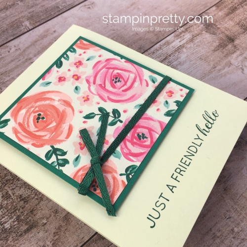 Create a simple hello card with Stampin' Up! Garden Impressions Designer Series Paper - Mary Fish StampinUp Idea