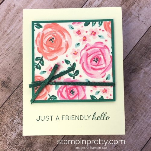 Create a simple hello card with Stampin' Up! Garden Impressions Designer Series Paper - Mary Fish StampinUp Ideas