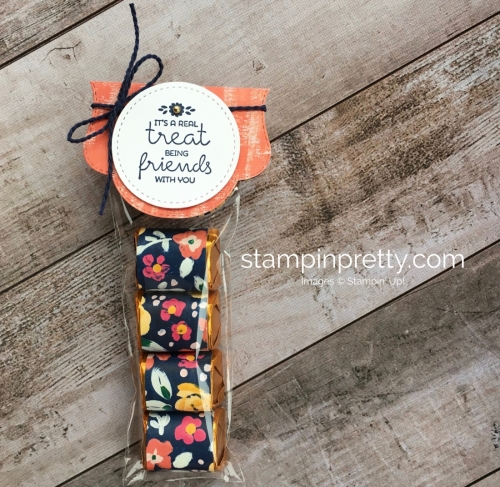 Create a simple nugget treat holder using Treat Time stamp set & Stitched Seasons Framelits Dies - Mary Fish StampinUp