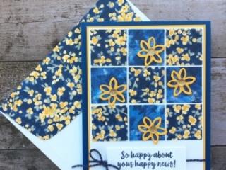 Create a simple sampler card using Stampin up Garden Impressions Designer Series Paper - Images © StampinUp Ideas