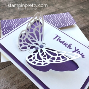 Create a simple thank you note card using Stampin Up Springtime Impressions butterfly - Mary Fish StampinUp Idea