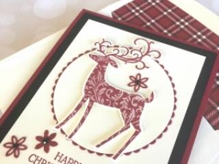 Create a Christmas card using Stampin Up Dashing Deer & Detail Deer Thinlits Dies - Mary Fish StampinUp