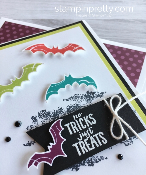 Create a Halloween card with Stampin Up Spooky Sweets Bat Punch - Mary Fish StampinUp Ideas