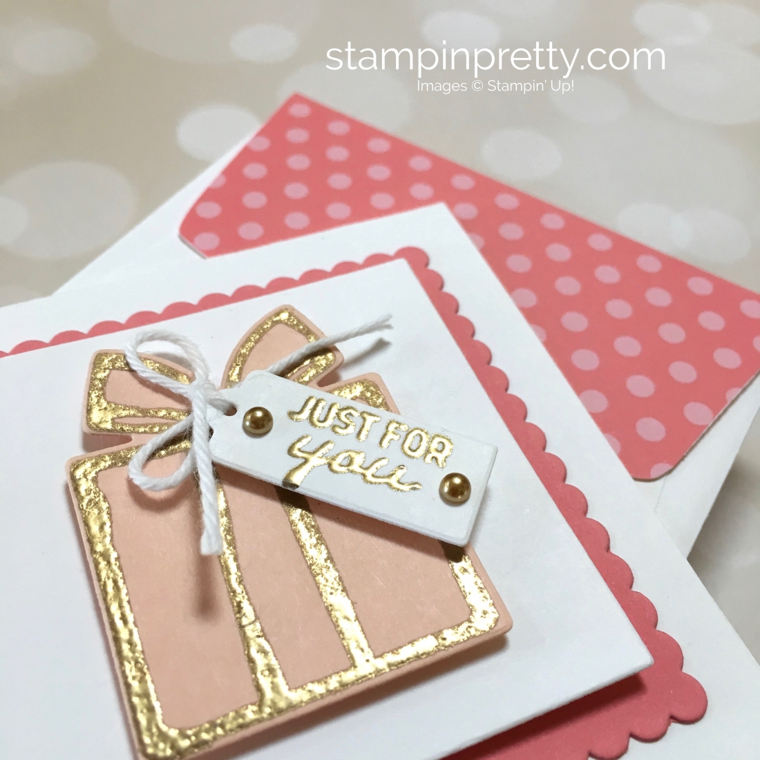Create a simple 3 x 3 gift card using Nothing Sweeter and Sweetly Stitched Dies - Mary Fish StampinUp Ideas