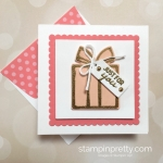 Create a simple 3 x 3 gift card using Nothing Sweeter and Sweetly Stitched Dies - Mary Fish StampinUp envelope flap