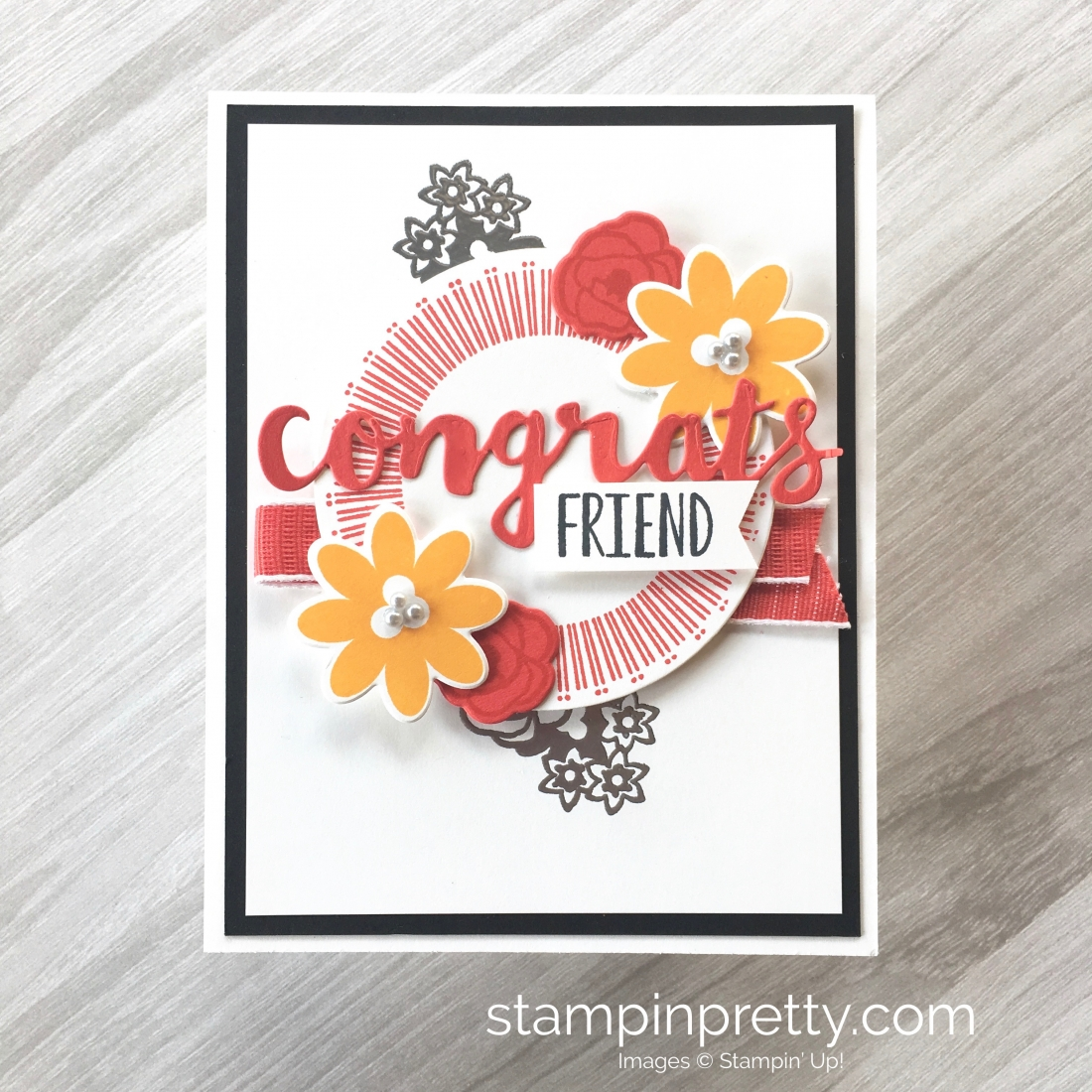 Create a simple congrats card using Stampin Up Bouquet Blooms stamp set & Gatefold Blossoms Dies - Mary Fish StampinUp Idea