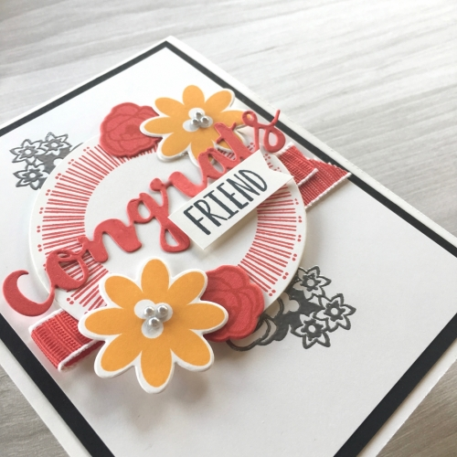 Create a simple congrats card using Stampin Up Bouquet Blooms stamp set & Gatefold Blossoms Dies - Mary Fish StampinUp Ideas