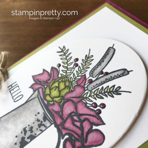 Create a simple easel post-it holder using Stampin Up Country Road - Mary Fish StampinUp berries