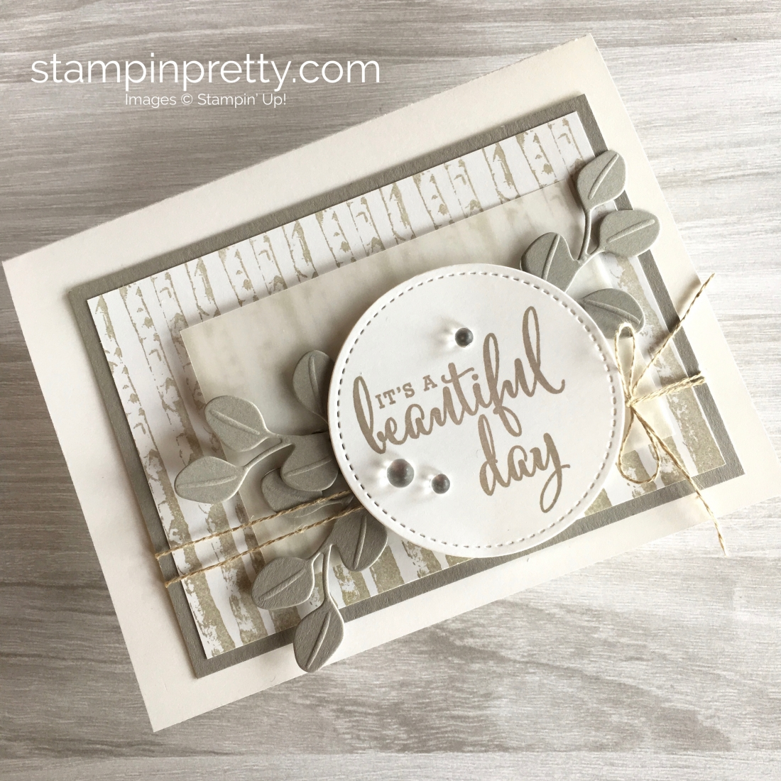 Create a simple friend card using Stampin Up Winter Woods & In the Woods Framelits Dies - Mary Fish StampinUp