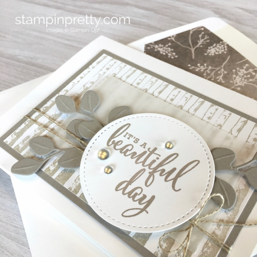 Create a simple friend card using Stampin Up Winter Woods & In the Woods Framelits Dies - Mary Fish StampinUp Idea