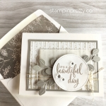 Create a simple friend card using Stampin Up Winter Woods & In the Woods Framelits Dies - Mary Fish StampinUp envelope liner