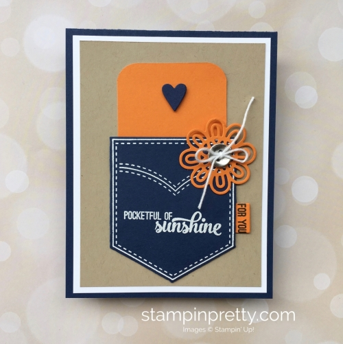 Create a simple gift card holding using Stampin Up Pocketful of Sunshine & Pocket Framelits - Mary Fish StampinUp