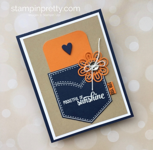 Create a simple gift card holding using Stampin Up Pocketful of Sunshine & Pocket Framelits - Mary Fish StampinUp Idea