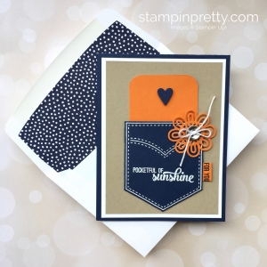 Create a simple gift card holding using Stampin Up Pocketful of Sunshine & Pocket Framelits - Mary Fish StampinUp Ideas envelope