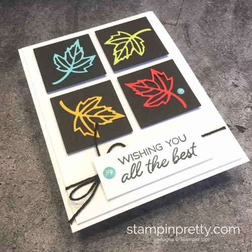 Create a simple leaf card using Stampin Up Blended Seasons Stamp Set & Stitched Seasons Dies - Mary Fish StampinUp idea