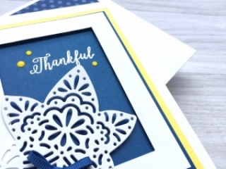 Create a simple thank you card using Stampin Up Falling Leaves & Detailed Leaves Thinlits Dies - Mary Fish StampinUp Ideas