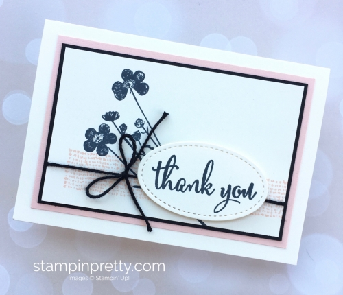 Create a simple thank you card using Stampin Up Love What You Do and Stamparatus - Mary Fish StampinUp bokeh