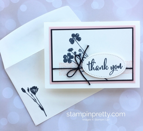 Create a simple thank you card using Stampin Up Love What You Do and Stamparatus - Mary Fish StampinUp envelope