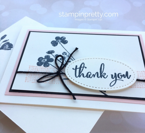Create a simple thank you card using Stampin Up Love What You Do and Stamparatus - Mary Fish StampinUp stitched oval