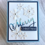 Create a snowflake Christmas card using Stampin Up Blizzard & Merry Christmas Thinlits Dies - Mary Fish StampinUp