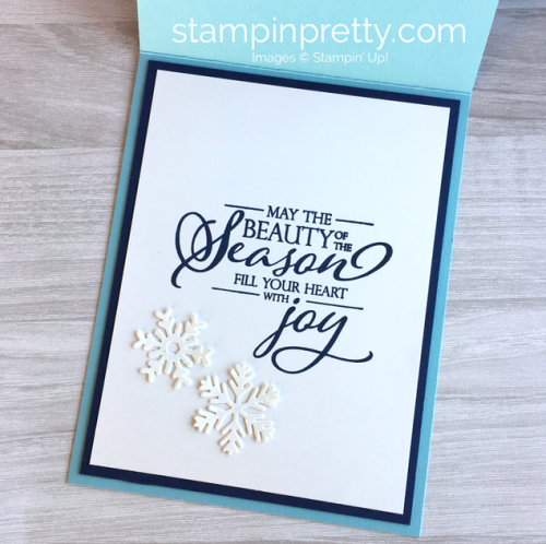 Create a snowflake Christmas card using Stampin Up Blizzard & Merry Christmas Thinlits Dies - Mary Fish StampinUp Idea Interior