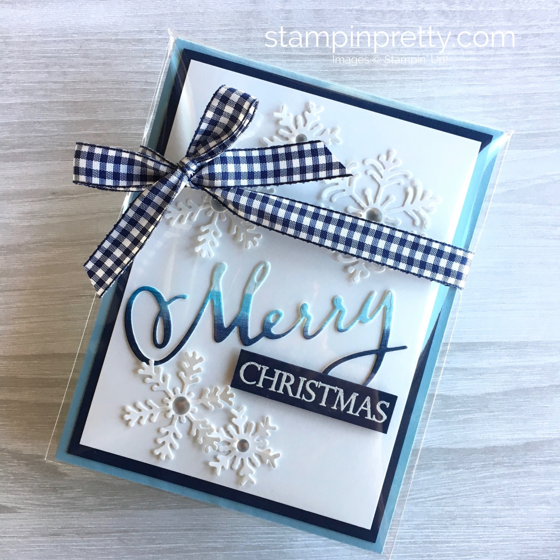 Create a snowflake Christmas card using Stampin Up Blizzard & Merry Christmas Thinlits Dies - Mary Fish StampinUp Idea